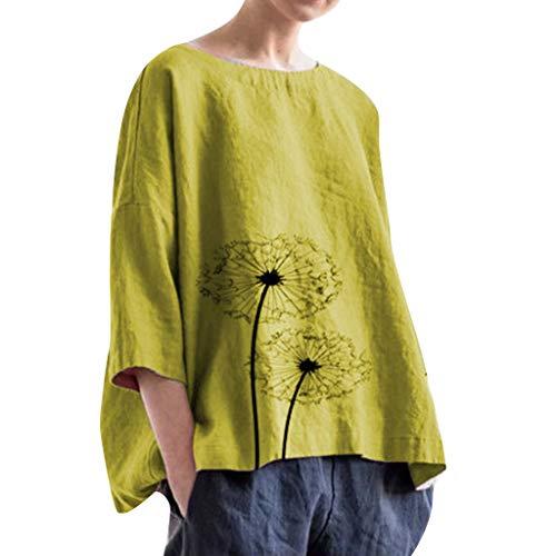 Bellelove Große Größen Leinen Bluse Damen Rundhals Langarmhemd Schickes bedrucktes Löwenzahn-T-Shirt Bequeme Bluse Beiläufige Lose Oberteile