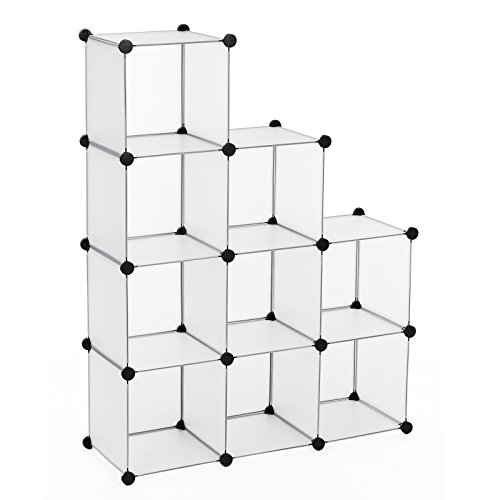 Songmics Regalsystem Cube Aufbewahrung Badregale Schuhregal Sideboard Kommode Kleiderschrank Aufbewahrungsbox Weiß 96 x 96 x 31,5 cm LPC115S