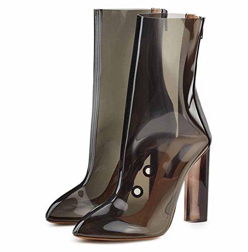 Frauen Spitzen Transparent Stiefel Frühling Sommer PVC High Heel Sandalen Atmungsaktiv Große Größe Schuhe 40-48 (Farbe : Schwarz, Größe : 47)