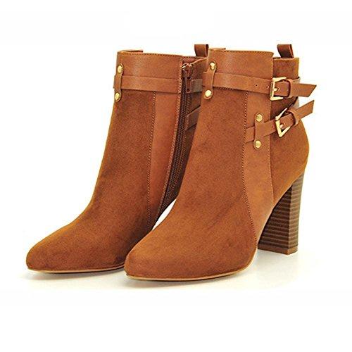 Donna stivale il nuovo, Stivaletti di gomma fine slittata indossare impermeabile, Assorbimento degli urti, lato cerniera moda cintura in pelle fibbia Grezzo con Stivaletti camel color