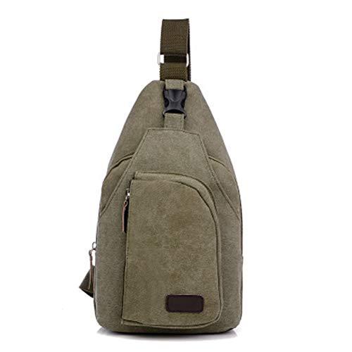 QINEOR Männer Vintage Canvas Leder Satchel Schulter Sling Brust Pack Bag Slingshot Bag Brust Pack,5,B -