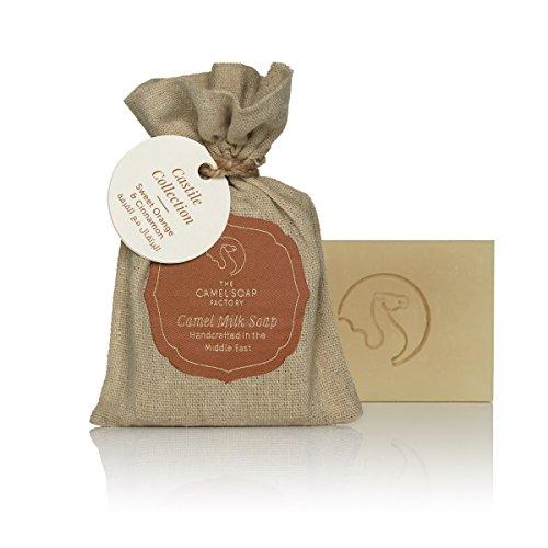 Spezial Seife aus Kamel Milch und Olivenöl, 100% natürlich, 100g, handgefertigt, hautfreundlich für Körper und Gesicht zur täglichen Reinigung - Geschmacksrichtung süße Orange & Zimt