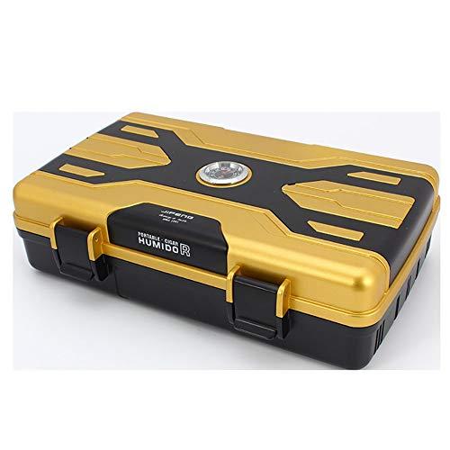 LINLIN 10 Sticks zigarre befeuchtung Box wasserdicht versiegelt Anti Drop und Anti Druck tragbare Geschenke für männer21.6 * 14.5 * 6cm,Yellow -