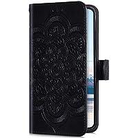 Uposao Kompatibel mit iPhone XS Max Handyhülle Leder Hülle 3D Retro Mandala Blumen Muster Brieftasche Klapphülle Flip Cover Schutzhülle Tasche Magnet Kartenfach Standfunktion,Schwarz