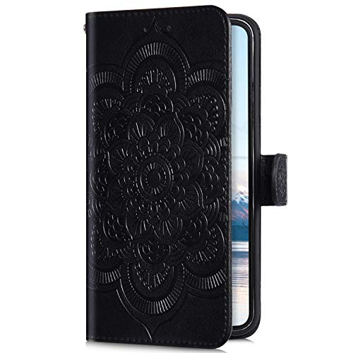 Uposao Compatible with iPhone XS Max Wallet Case Cute Mandala Flower Embossed Leather Wallet Flip Case Shockproof Protective Phone Cover with Kickstand Magnetic Card Holder,Black