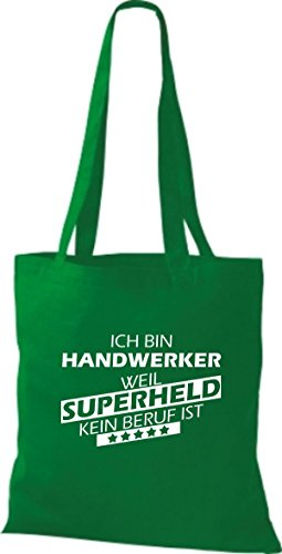 Shirtstown Stoffbeutel Ich bin Handwerker, weil Superheld kein Beruf ist kelly