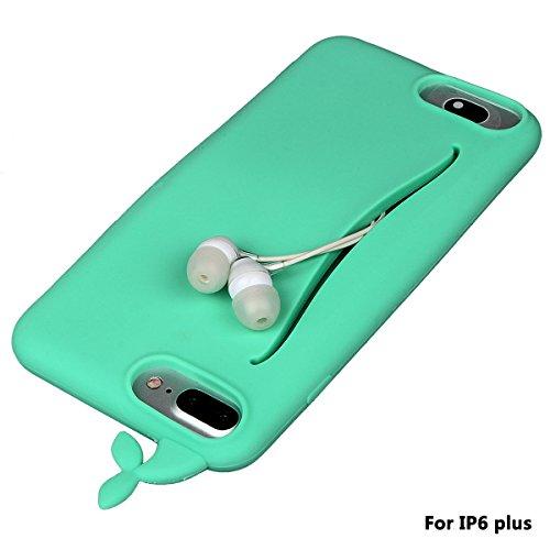 """xhorizon FM8 Silikon-nette Gummi-weiche Wal-Kaninchen-Schwanz-Kreditkarte-Karten-Fall-Abdeckung für iPhone 6 Plus / iPhone 6S Plus [5.5""""] grün"""