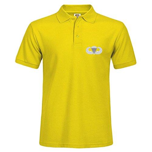 Stylisches Polo Shirt Outdoor Sport Kurze Shirt mit Kragen Airborne Abzeichen bedruckt Small gelb