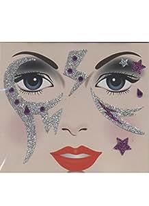 Tatoo éphémère paillettes argent et violet strass violet éclair tatouages temporaires paillettes pour le visage décor de peau [88191507b]