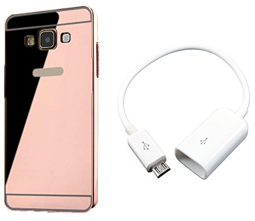 Novo Style Luxury Mirror Effect Acrylic back + Metal Bumper Cover for SamsungGalaxyJ1 Ace Rose Gold + Micro USB OTG Cable Attach pendrive Card Reader Mouse Keyboard to Tablets Mobile  available at amazon for Rs.329