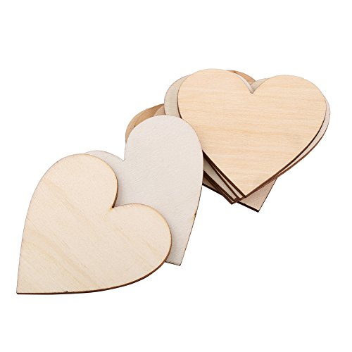 Wooden Heart Shape Embellishment Blank Wooden Heart Embellishments for Weddings Plaques Art Craft Card Making Or Decoration(40mm)
