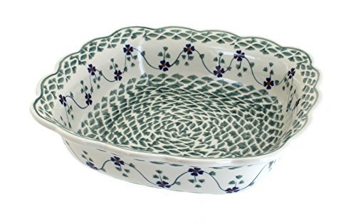 polish-pottery-sage-floral-small-square-serving-dish-by-blue-rose-pottery