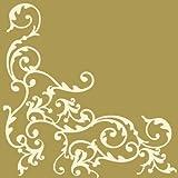 50 Servietten, stoffähnlich, Airlaid 1/4-Falz 40 cm x 40 cm Ornaments Gold Creme für Hochzeit und besondere Anlässe