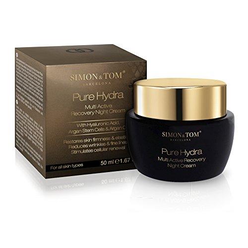 Simon & Tom Pure Hydra Crema facial de noche 50ml hidratación intensiva con aceite de Argán orgánico reduce arrugas y reafirma la piel ✔vegano ✔sin parabenos ✔sin ftalatos ✔no testado en animales