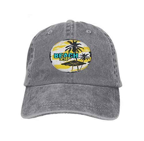Unisex Baseball Cap Trucker Hat Adult Cowboy Hat Hip Hop Snapback Beach Summer Poster Design Palm Trees Beach Umbrella Beach s Gray