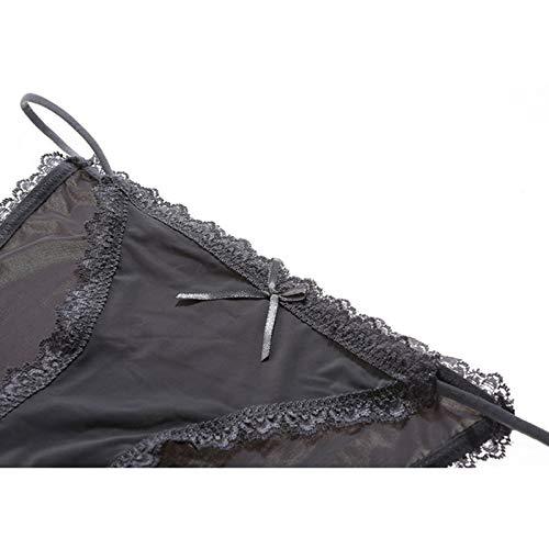 Haodou String mit Spitze Damen Unterhose Polyester Unterwäsche Reizvolle Wäsche durchsichtige Tanga G-Schnur Schlüpfer Damenwäsche Dessous (Dunkelblau-L) - 4