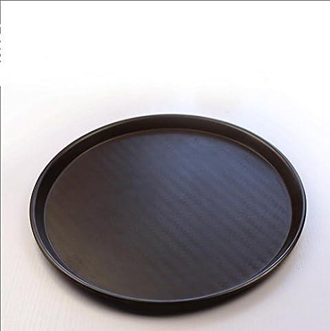 KTV thickened round tray Pan skid plate tea wood tray melamine tableware coffee bowls , black ,