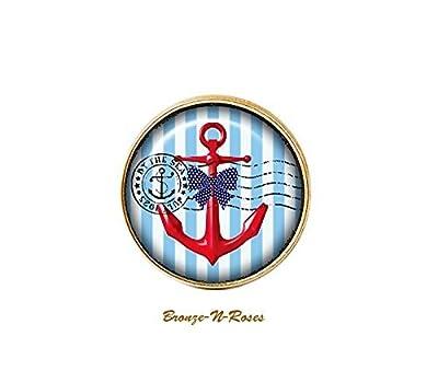 """Bague """" La mer """" cabochon bleu la plage bronze ancre marin bleu bronze-n-roses"""