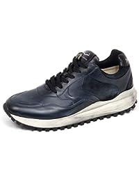 9e88ff4999d F4578 Sneaker uomo Dark Blue VOILE BLANCHE Larry Scarpe Vintage Effect Shoe  Man