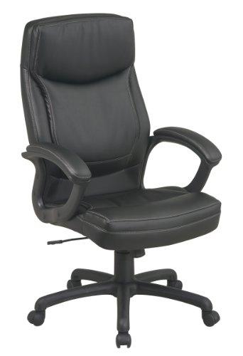 Hoch High Back Leder (Office Star WorkSmart Bürostuhl mit hoher Rückenlehne, umweltfreundliches Leder Transitional High-Back schwarz)