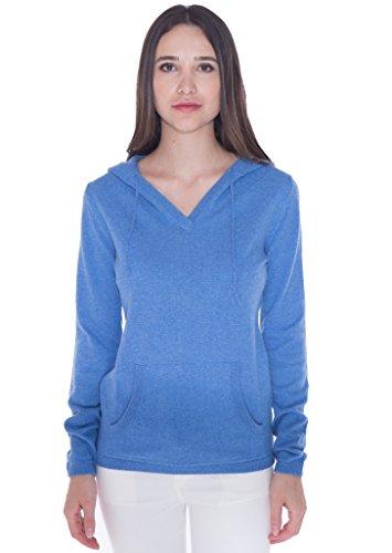 100% Kaschmir V-Ausschnitt Kordelzug Hoodie Pullover für Frauen - von CASHMERE 4 U (Small, Azure(Azurblau)) (Kaschmir-pullover Design)
