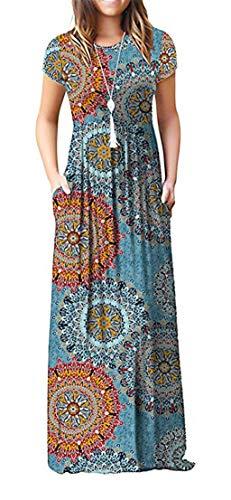 ZIOOER Damen Casual Lose Printed Kurzarm Maxikleider Kleider Lange Kleid mit Taschen Sonne-Blau L