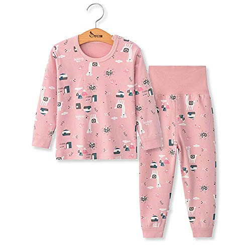 Chickwing Kinder Zweiteiliger Schlafanzug, Mädchen Jungen Unisex Langarm Hohe Taille Pyjama Pjs 100% Baumwolle 6 Monate-5 Jahre Höhe Größe 73 80 90 100 110 (2 Jahre Alt, Rosa Kitz)