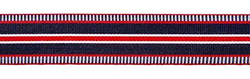 Zierstoff Ripsband, Marine/Rot/Weiß gestreift, 25 mm breit, 300 cm