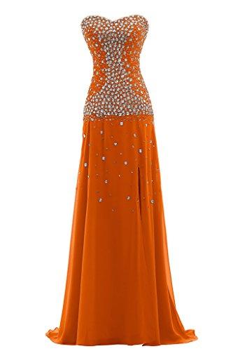 Ivydressing Damen Scheind Herz-Ausschnitt Lang Chiffon Promkleid Festkleid Abendkleid Orange