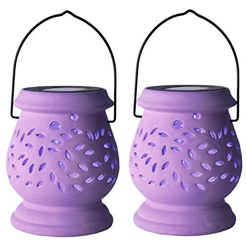 CLAY LANTERN-2 Lanternes Solaires d'extérieur LED Violet H14,5cm Best Season