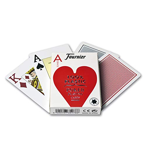 Fournier Nº 2800 Plastico Baraja de Poker Profesional Calidad Casino, Color Rojo/Azul...