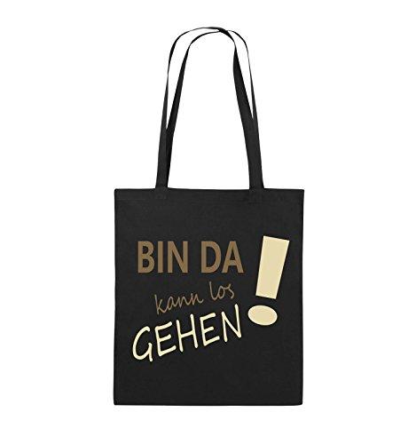 Comedy Bags - Bin da kann los gehen! - Jutebeutel - lange Henkel - 38x42cm - Farbe: Weiss / Schwarz-Rot Schwarz / Hellbraun-Beige