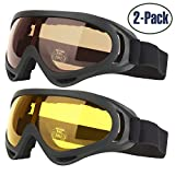 Ski Goggles for Kids Men & Women Skate Glasses with 100% UV 400 Protection Wind Resistance Anti-Glare Lenses & Dust-proof Insulation Pack of 2 Made by COOLOO