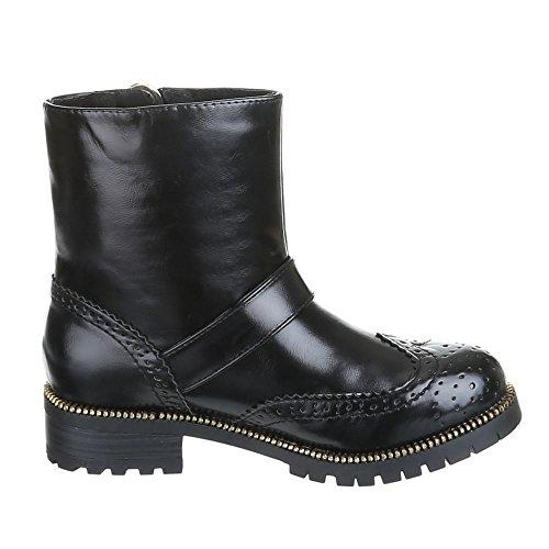 Stiefeletten Damen Schuhe Biker Boots Gothic Warm Gefütterte Schwarz 36 37 38 39 40 41 Schwarz