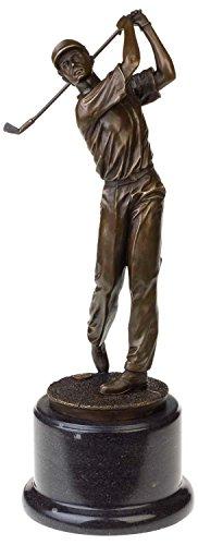 aubaho Bronzeskulptur Antik-Stil Golf Golfer Mann Abschlag Bronze Figur Statue - 38cm -