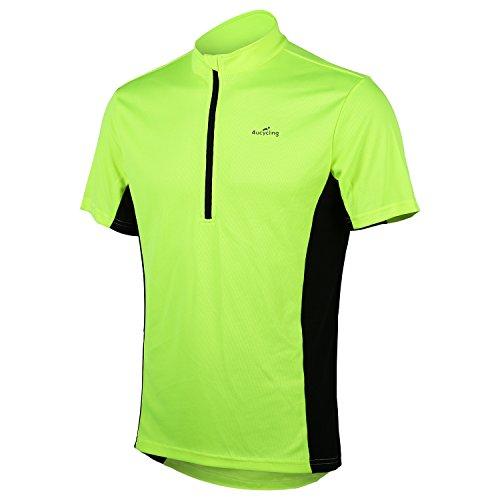4Ucycling Herren Radtrikot Fahrrad T Shirt Sport Jersey Cycling Radshirt Kurzarm Grün und Schwarz 3XL -
