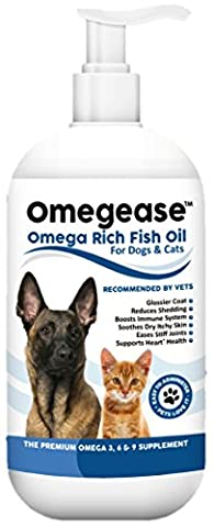 100% Pure Omega 3, 6 & 9 Fish Oil for Dogs and Cats - Best For Skin, Coat, Joint, Heart & Brain Health. Boosts Immunity. From Wild Caught Fish - Better Source of DHA & EPA Than Farmed Scottish Salmon Oil. Results in 30 Days or Your Money