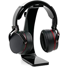 DURAGADGET Soporte negro para auriculares AKG K 912 / K121 / Y30U / Y40 / Y45bt / Y50 / Y50BT / AGPtek NC-HA0079 con recogecables.