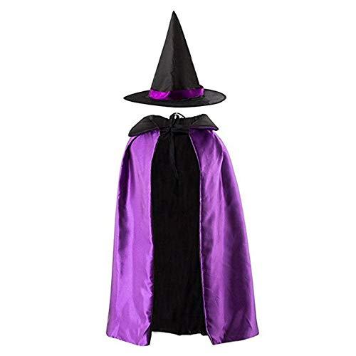 Hmjunboys halloween costume da strega stregone costume da mago mantello da mago con cappello per bambini 4-10 anni - (porpora)