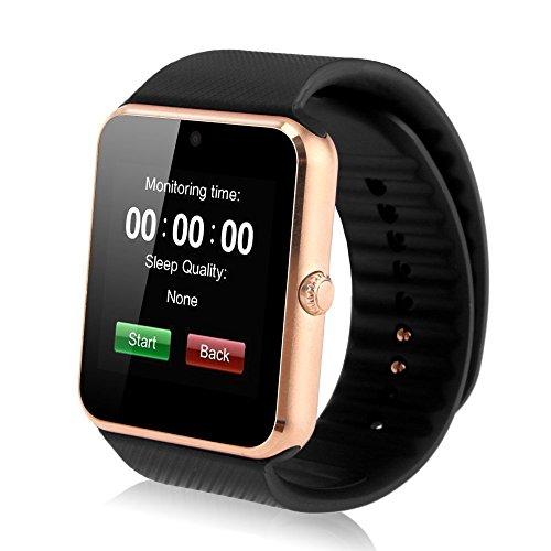 INDI GT08 Bluetooth Smart Watch Armband Telefon Uhr mit Kamera SIM & Micro-SD Karten-Slot Schrittzähler LCD Touch Screen für Android Smartphones (Gold + Schwarz) (Android-uhr-telefon Mit Sim-karte)