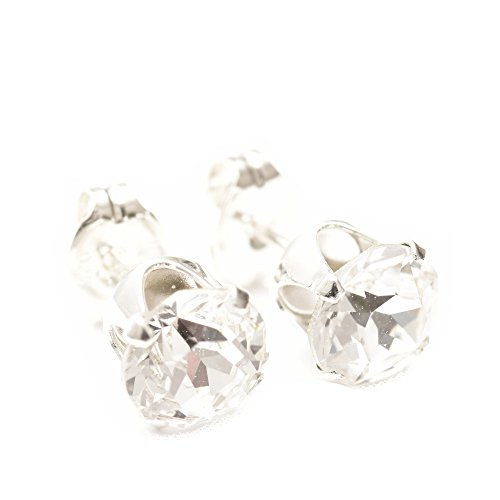 pewterhooter 925 Sterling Silver stud earrings expertly made with sparkling diamond white crystal from SWAROVSKI® for Women SVxcN