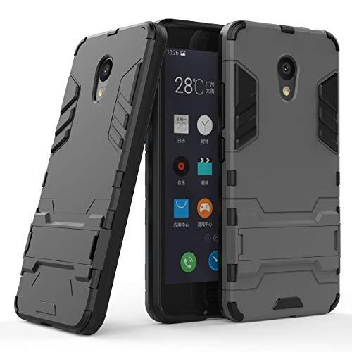 tinyue® Handyhülle für Meizu M5C, Hülle 2 in 1 Material Harte Schwer doppelte kratzfester Handyfall im Freienhandyfall Iron Man Rüstung mit Kickstand Case, Grau
