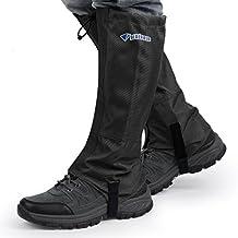 OUTAD Bluefield al Aire Libre impermeables a prueba de viento polainas protección de la pierna guardia para Las Piernas Senderismo Esquí Escalada (negro) (Negro, M)