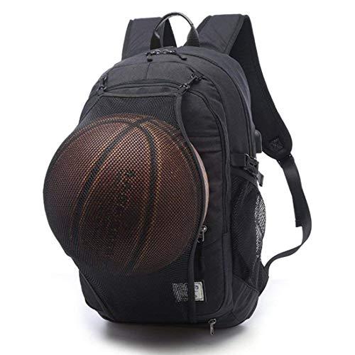 VISTANIA Basketball Rucksack USB Charge Schultasche Wasserdichter Laptop Sport Tasche + Ballnetz,Black
