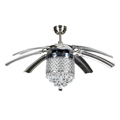 Moderne Silber Deckenventilator (YC electronics Innenbeleuchtung 42-Zoll-LED-Kristallventilator der hohen Qualität beleuchtet modernen Ventilator des Wohnzimmers mit Fernsteuerungsdeckenventilatoren Blades Reversible (Größe : 120cm))