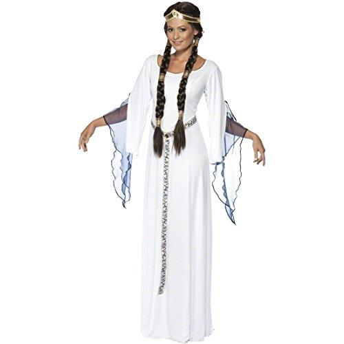 NET TOYS Burgfräulein Kostüm Marian Mittelalter Kleid Weiß M 40/42 Prinzessinkostüm Mittelalterkostüm Königin Damenkostüm Prinzessin Burgfrau Hofdame