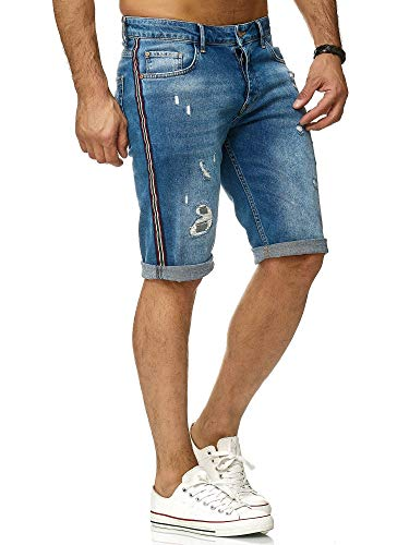 Redbridge Männer Jeansshort Luxury Striped Denim Shorts Destroyed Sommer Kurze Hose -