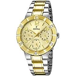 University Sports Press F16707/1 - Reloj de cuarzo para mujer, con correa de acero inoxidable chapado, color multicolor