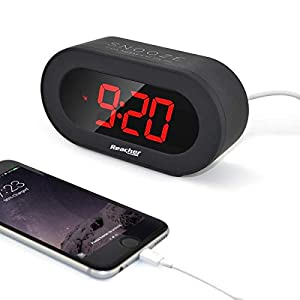 Reacher Large LED Digital Alarm Clock Desk Bedside Clock with Snooze Function, USB Port for Smart Phones and Tablets Charging, Battery Backup and Mains Powered(Black)