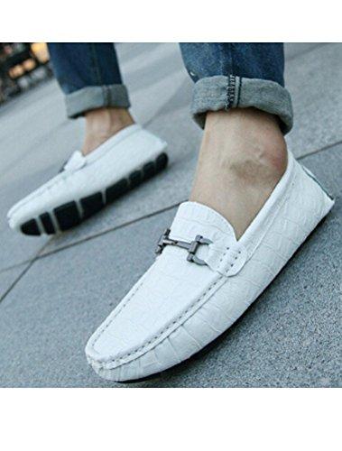 MatchLife Herren Slipper Klassisch Kroko Halbschuhe Style1-Weiß
